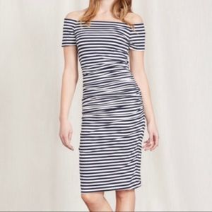 Boden Off Shoulder Ruched Dress Navy Blue White